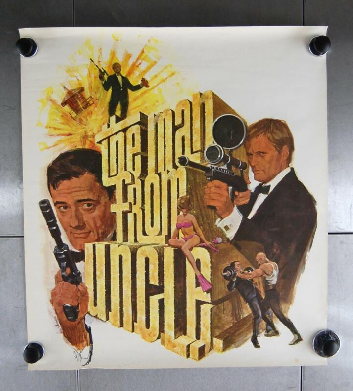 """VTG The Man From U.n.c.l.e. 1966 NBC TV Promo Art Poster Action  21"""" x 24"""""""