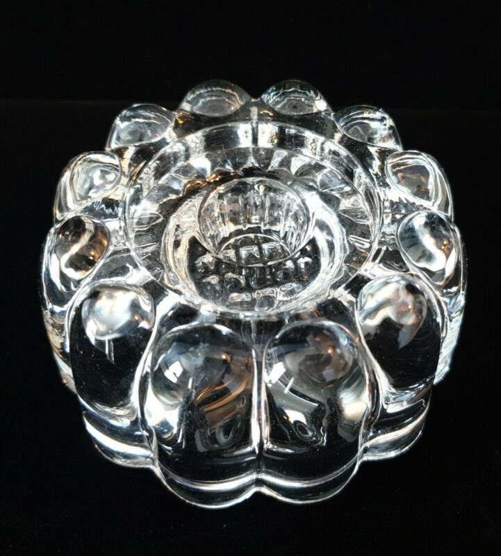 Antique Crystal Candle Stick Holder Depression Glass Bead Bubble Vintage Old USA