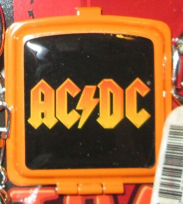 AC/DC ASHTRAY KEYCHAIN  COLLECTABLE RARE  EMBROIDED 2006 METAL key chain ANGUS