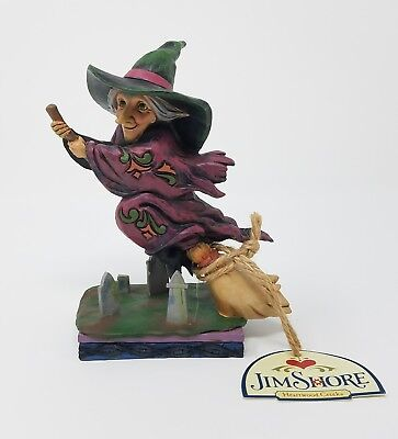 JIM SHORE HALLOWEEN EVERY WITCH WAY FLYING WITCH ON A BROOM NIP