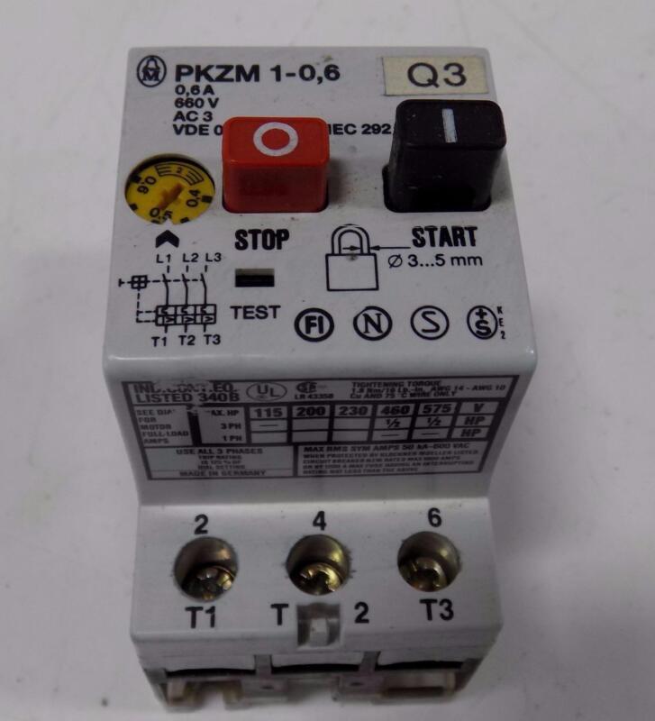 KLOCKNER-MOELLER 0,6A MOTOR STARTER PROTECTOR PKZM 1-0,6