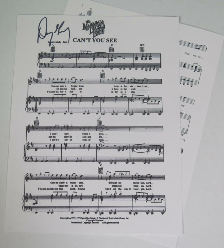 """Doug Gray THE MARSHALL TUCKER BAND Signed Autograph """"Can't You See"""" Sheet Music"""