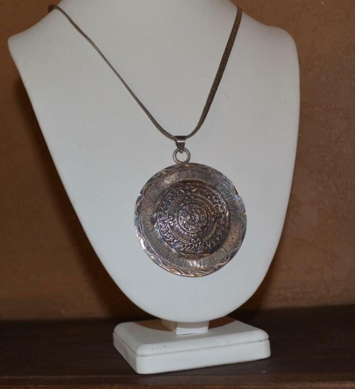 Vintage Sterling Silver Mexico Aztec Calendar HUGE  Disc Pendant 64 Grams SIGNED