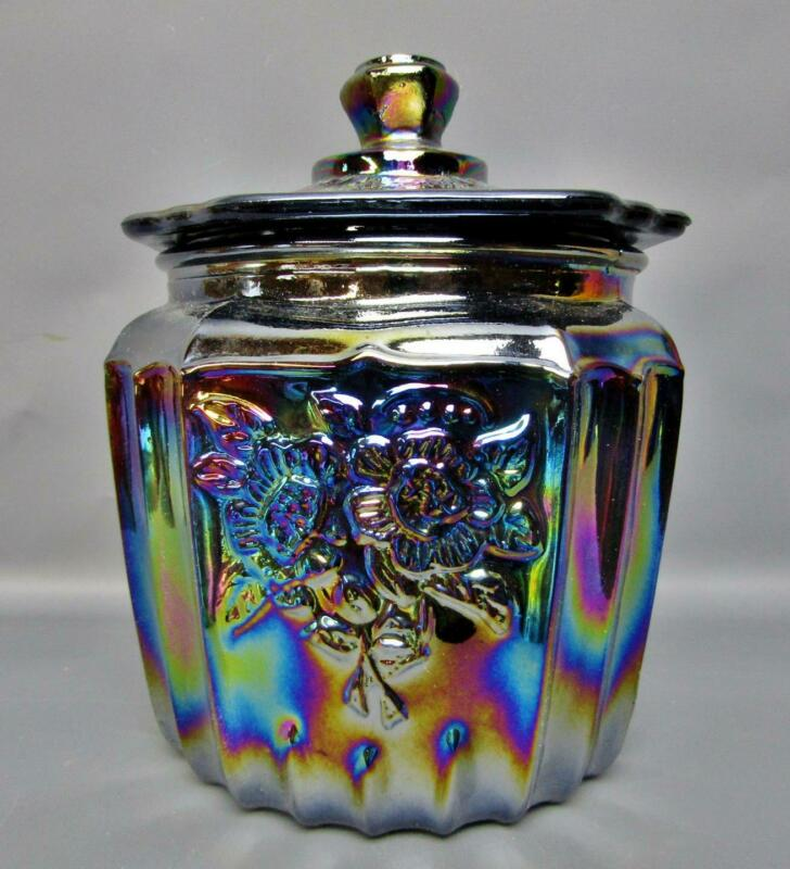 Modern Black Amethyst Carnival Glass Floral Motif CANDY JAR with Lid 7837