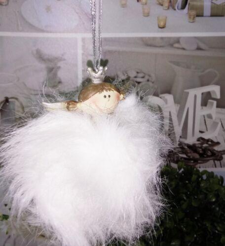 Weihnachtskugel Fell Weiß Creme *ENGEL Nostalgie Christbaumkugel Krone Vintage