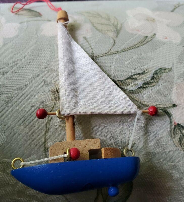 Vintage (1983) Kurt Adler Wooden Sailboat w/Cloth Sail Ornament EUC