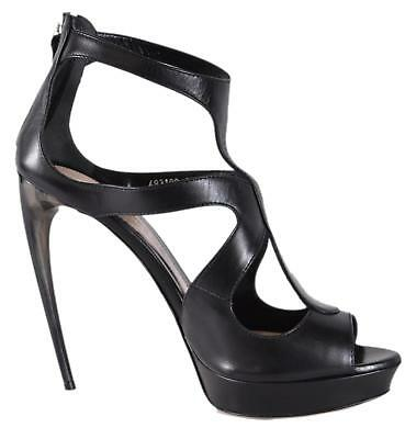 New Alexander Mcqueen 482190 Black Leather Horn Heel Cage Sa