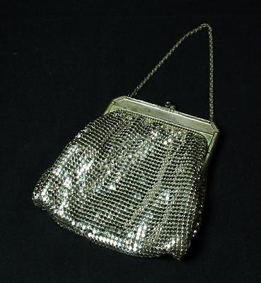 1940s Handbags and Purses History Vintage Whiting & Davis Silver Metal Mesh Evening Bag Purse 1940s $17.95 AT vintagedancer.com