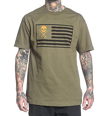 Medium Sullen Pride Tee Military Green tattoo rockabilly American Flag skull M - Marine Corps Tattoo