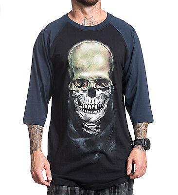 Sullen Clothing Mens Eternal Skull Black Navy Raglan Baseball T Shirt