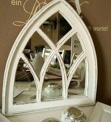 Wandspiegel*Spiegel*Spiegelfenster mit Gothischem Holzrahmen  Weiß Wandspiegel