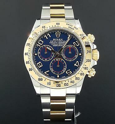 Rolex Oyster Perpetual Cosmograph Daytona Two Tone 116523 Blue Arabic Box Papers