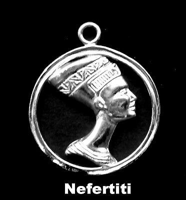 Sterling Silver Charm - Nefertiti with Circle/  2 sided