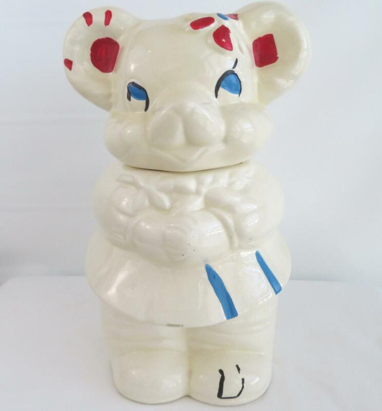 Vintage Turnabout Double Face Cookie Jar Teddy Bear Boy Girl Patent Applied USA