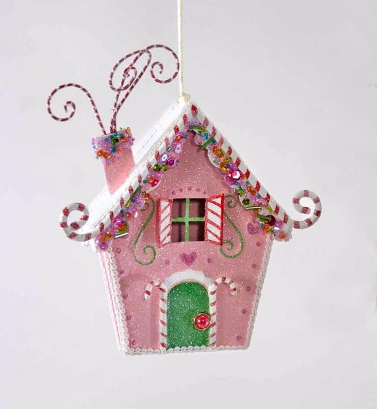 Katherine's Collection - Sweet Christmas Candy House Ornament - Pink - 28-828424