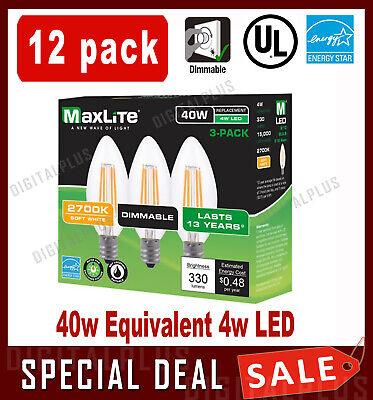 12pack B10 LED Light Bulbs 2700k 40W 300L Equivalent C12 E12 Candelabra Dimmable 40w B10 Candelabra