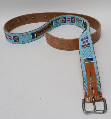 Antique Crow Beaded Harness Leather Tack Belt; c. 1890-1900