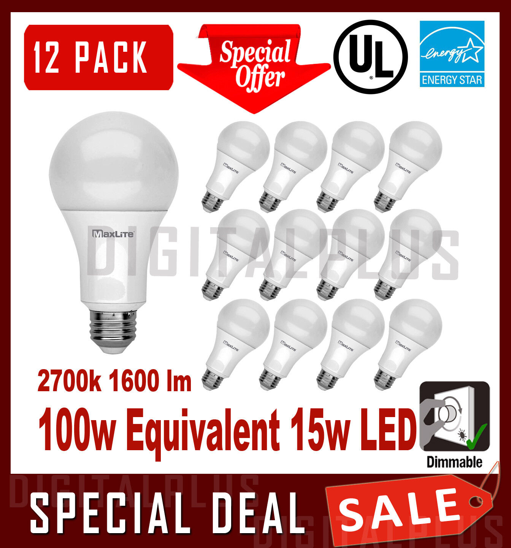 12 LED Light Bulbs MAXLITE 15W 1600 Lumens Soft White 2700K