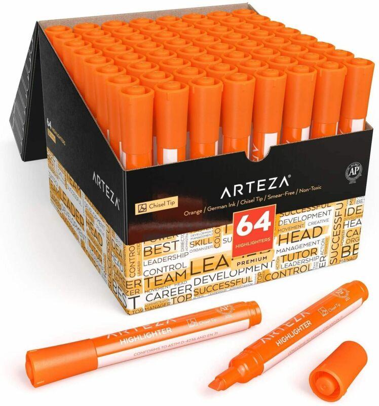 ARTEZA Highlighters, Wide Chisel Tip, Orange, Set of 64