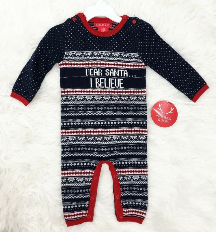 Jingles & Joy Knitted One Piece Holiday Christmas Sweater Infant Baby Santa 3-6M