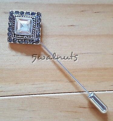 Vintage style Silver Geometric Lapel Collar Pin Brooch Crystal Diamante