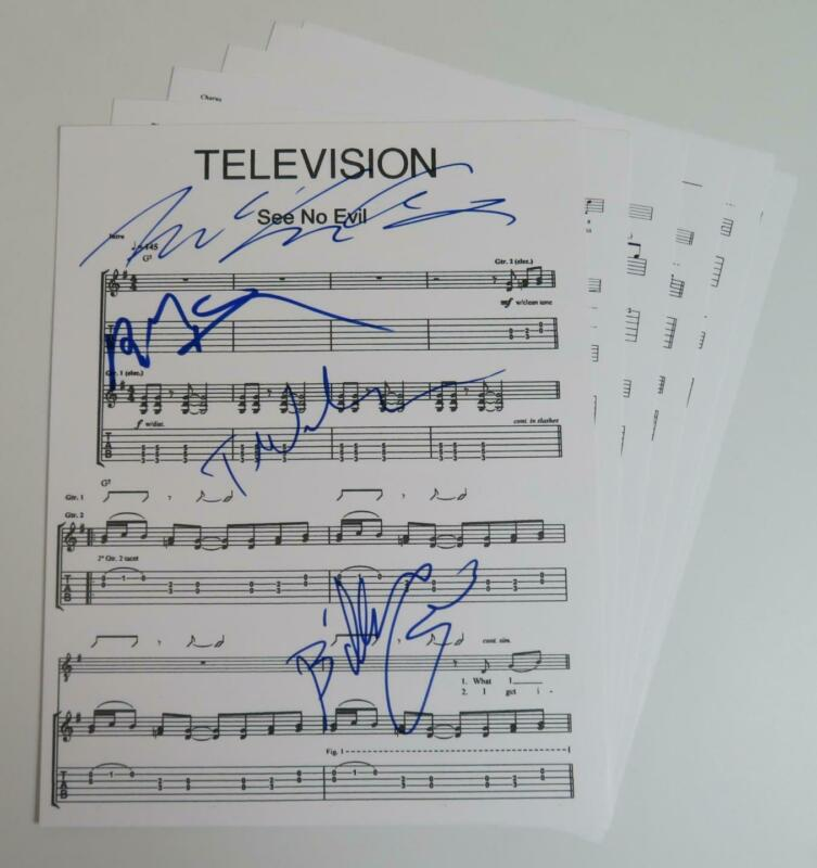 """Tom Verlaine TELEVISION Signed Autograph Auto """"See No Evil"""" Sheet Music by All 4"""