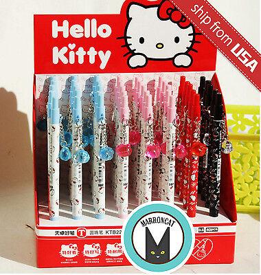 US Lot Kitty Cat Ball Point Pen Crystal Head Dangle Pens fun Cute Cartoon Kawaii