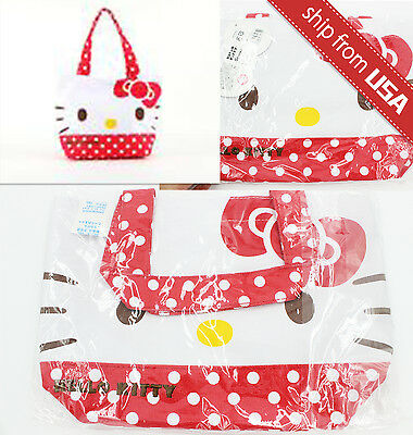 Authentic Japan Limited Hello Kitty Lunch Tote Bento Bag Purse Red Polka (Hello Kitty Polka Dot)