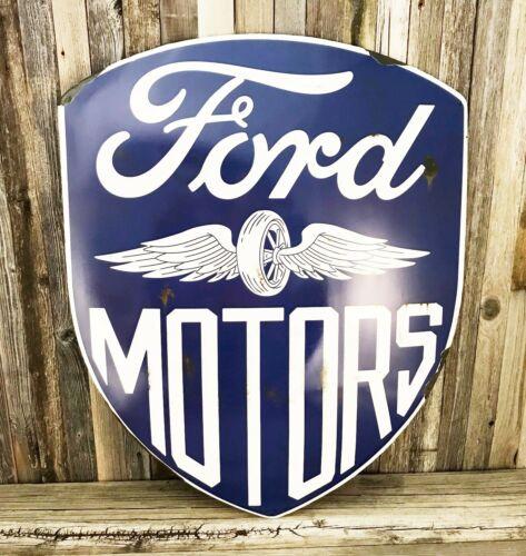 """Ford Motors Large 24"""" Embossed Metal Tin Domed Shield Sign Vintage Garage New"""