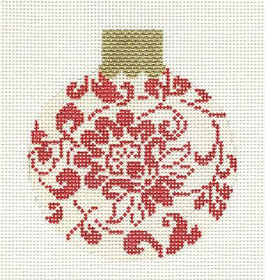 Red & Cream Floral Damask handpainted Needlepoint Canvas Orna. Whimsy & grace (Damask Needlepoint)
