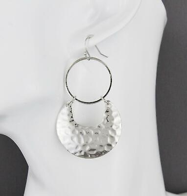 Silver hammered circle earrings dangle disc round lightweight 2 3/8
