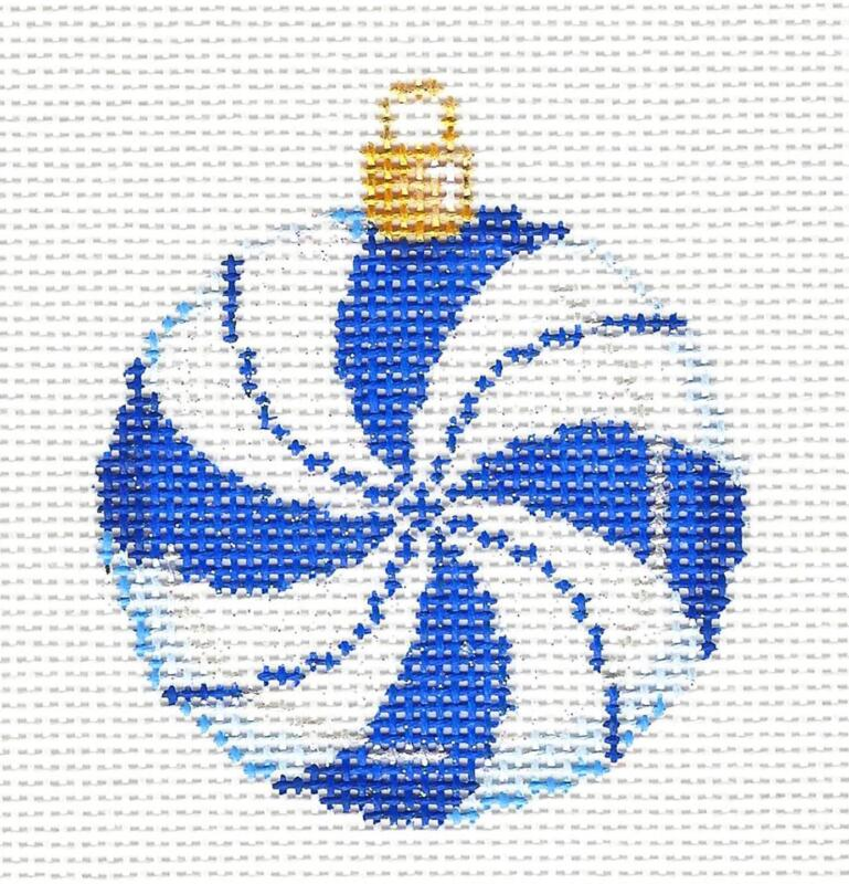 Diamond Blue & White handpainted Needlepoint Ornament by Associated Talent