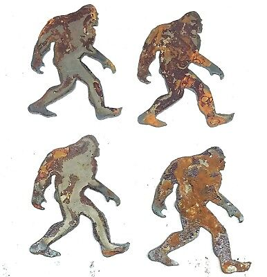 Lot Of 4 Sasquatch Bigfoot Yeti S 3 Rusty Metal Vintage Craft Sign Ornament