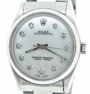Mens Rolex Stainless Steel Oyster Perpetual No-Date Watch White MOP Diamond 1002