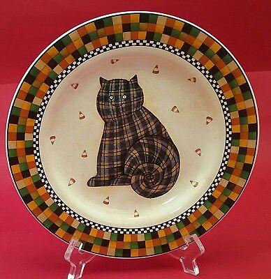 SAKURA DEBBIE MUMM HALLOWEEN 8 1/4 INCH CAT DISH PLATE - Debbie Mumm Halloween Dishes