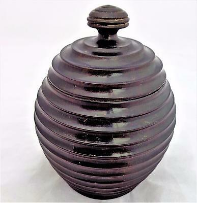 Antique Turned Ribbed Wooden Spice Pot or Box Probably African Blackwood 19th C