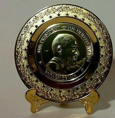 Barack Obama 44Th Presidential Commemorative Gold Presentation Plate 4 5 Inches