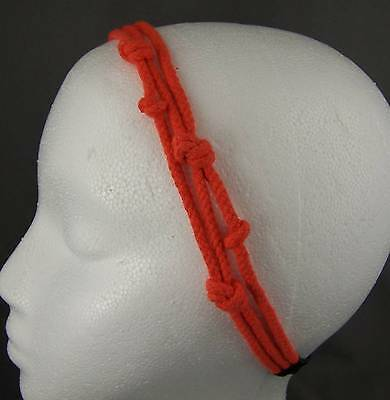 (Orange knotted triple-strand soft cord rope stretch elastic headband hair band)