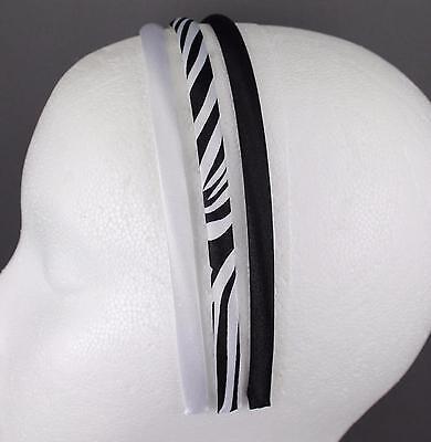 set pack 3 zebra stripe animal print Black White thin skinny headband hair band (Zebra Head Band)