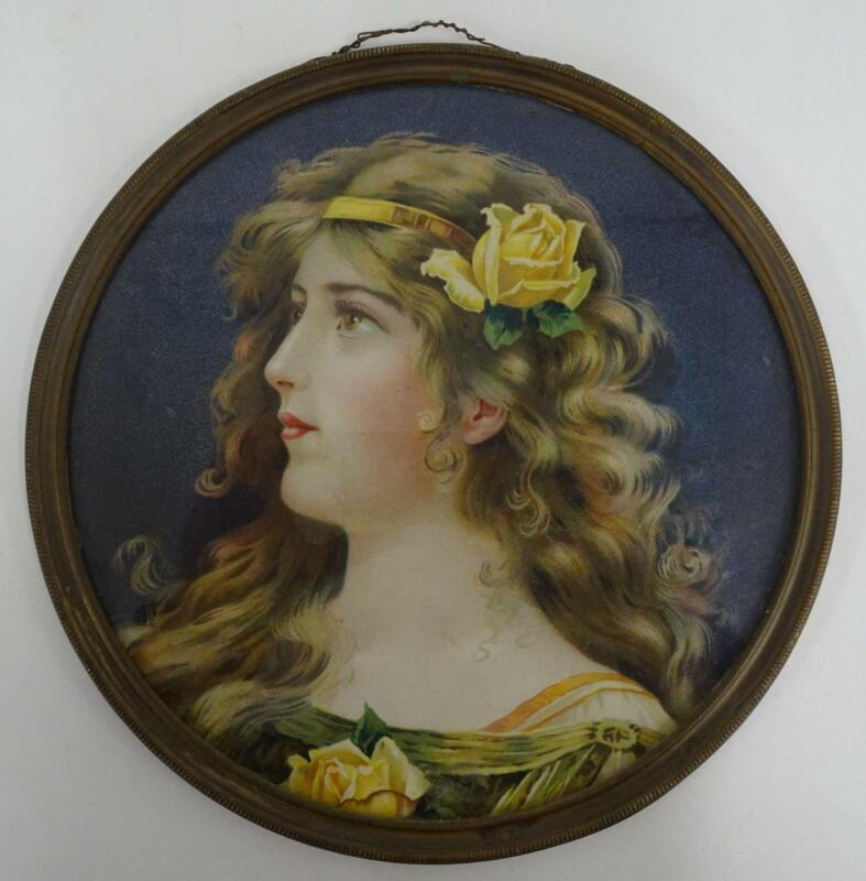 """Antique 9.5"""" Lithograph Chimney Flue Cover Young Woman Yellow Rose Brown Eyes"""
