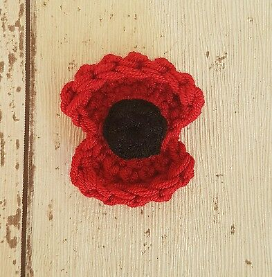 Remembrance Poppy Brooch supporting R.B.L. ~ Hand crocheted Poppy Pin
