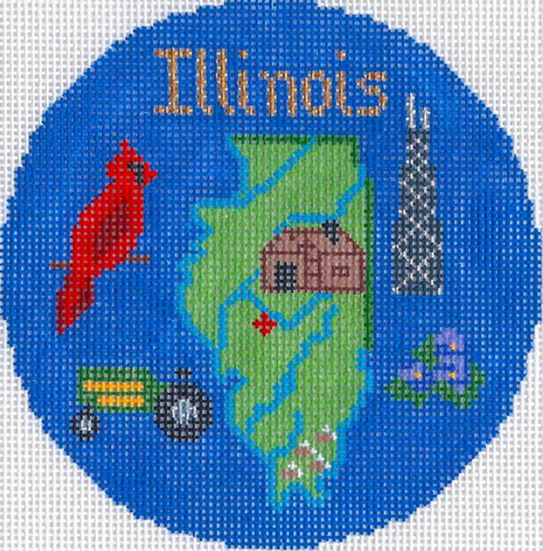 """ILLINOIS State handpainted 4.25"""" Round Needlepoint Canvas Ornament Silver Needle"""