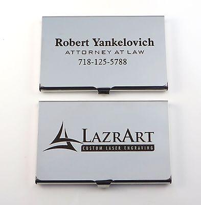 Stainless Steel Business Card Case - Free Custom DARK Laser Engraving ()