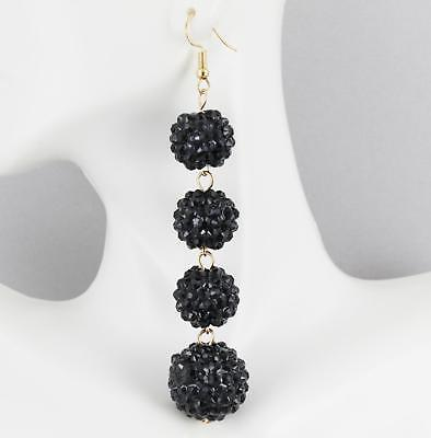 Black sparkly earrings disco ball 4