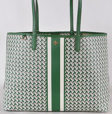 New Tory Burch 399 Green Coated Canvas Large T ZAG Tote Bag Purse