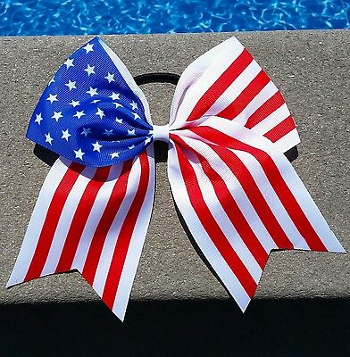 Red, White & Blue 4th of July USA Flag CHEER BOW Huge Big 8