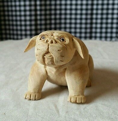 Hand Carved Wooden Dog Bulldog, Chubby Stout Puppy Figurine Handmade Sculpture