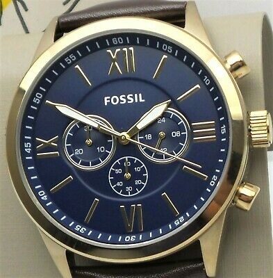 FOSSIL FLYNN Chronograph Watch BQ2095 Mens Blue Dial Brown Leather Band $145 NEW