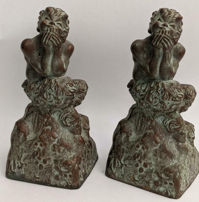 Rare Antique McClelland Barclay Bronzed FAIRY TAIL NYMPH SATYR  Bookends signed