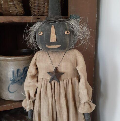 NEW Beautiful Handmade Primitive Halloween Raggedy WITCH W/Sparse Hair & Pumpkin